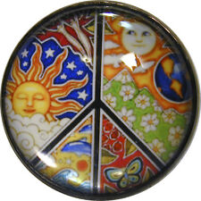 """I"""" Crystal Dome Button 1970s Peace Sign  #8  FREE US SHIPPING"""