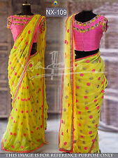 Bollywood Designer Party Wear Bridal Yellow Color Thread Work Georgette Saree