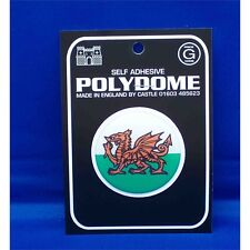 Welsh Dragon Round Polydome Sticker - Wales Red White Flag Self Adhesive