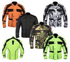 Mens Motorcycle Motorbike Jacket Waterproof CE Armoured Black Grey Hivis S-12XL