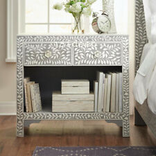 Handmade Bone Inlay Floral Leaf Design Gray Bedside Table