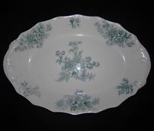 1900 Anq WH Grindley Chatsworth Blue Green Sm Platter Floral Transferware 287325