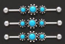 "1) Fancy Triple Round Turquoise 316L Surgical Steel 14g 1.5"" Industrial Barbell"