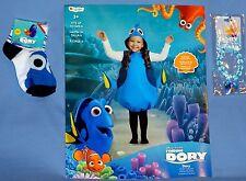 Disney Finding Dory Costume-child 4-6X;FISH-tunic w/headpiece;socks;bracelet;LOT