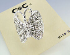 CBC City By City Silver-Tone Crystal Accent BUTTERFLY RING - Size 6