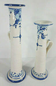 Set of 2 Hand painted Blue ivory Ceramic Pottery Candle Holders Made In Italy