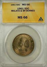 1961 Malaya and British Borneo 50 Cents Coin ANACS MS 66