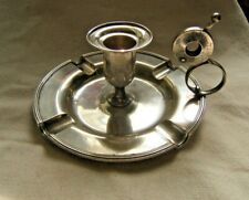 ANTIQUE STERLING SILVER CIGAR CUTTER CANDLESTICK ASHTRAY