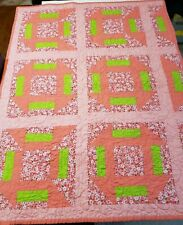 Handmade Baby Girl Quilt Pink Green Floral Rectangle Pieced Cotton