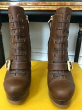 FENDI LEATHER LACE UP BUCKLE BROWN ANKLE BOOT SIZE 36 1/2 Gorgeous Runway Boots
