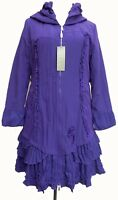 French Lagenlook Purple Fleece Lined Coat SIZE 22
