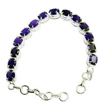 gorgeous Amethyst 925 Solid Sterling Silver Purple Bracelet Natural exporter US