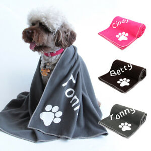 Personalised Pet Blankets with Name Soft Fleece Baby Dog Cat Washable 100x75cm