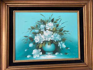 VINTAGE 1962 MID-CENTURY AQUA SIGNED By BENJAMIN STILL LIFE VASE FLOWERS FRAMED