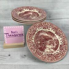 Staffordshire Engravings 17TH CENTURY RED Transferware Rim Soup Bowls Set of 4