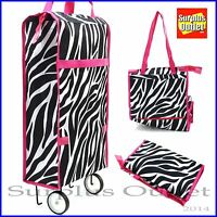 Portable folding wheel handle carry shopping bag rolling grocery cart tote