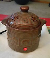 YANKEE CANDLE Brown Ceramic Crockpot w/LED Electric Wax Melts Warmer