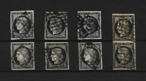 6 TIMBRES CERES 20 C NOIR 1849 OBLITERES GRILLE SIGNES  + 1 PAIRE  YVERT N° 3