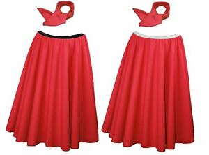 """26"""" Bright Red Rock & Roll Skirt + Neck Tie With Elasticated Waist band"""