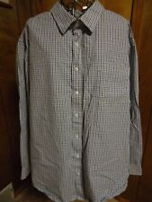 Mens 3XL George Blue/Black/White Plaid LS Shirt