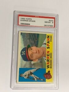"1960 Topps Warren Spahn #445 PSA 8 NM/MT  "" High Grade Card"""