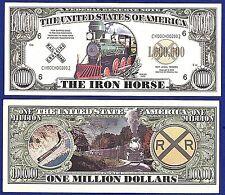 25--Iron Horse One Million Dollar Bills-Novelty - Locomotive - TRAIN MONEY- A1