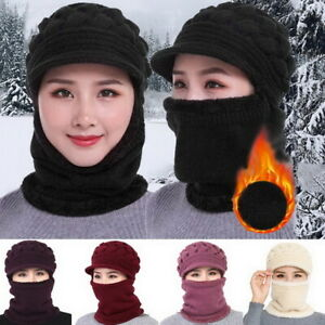 Women Knitted  Hat +Face Mask + Neck Scarf 3PCS Winter Knitted Cap Thicken tp