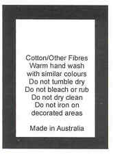 50 Care Labels on soft satin - Cotton other Fibres Made in Australia