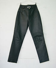Vintage 90's Black Leather High Waist Pants Trousers by Newport News Size 6
