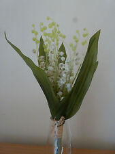 Gisela Graham Pure White Lily of the Valley Bunch with Raffia Bow 32cm