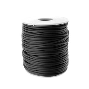 Rubber Hollow Tube Cord Black 5M Continuous Length 2mm Thick