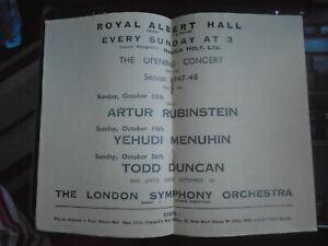 1947 Yehudi Menuhin, Artur Rubinstein, Royal Albert Hall Programme