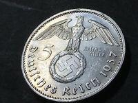 German Nazi coin 5 Reichsmark 1937 E  with big swastika 900 silver AG