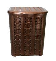 45L BRAIDED Rattan Plastic Laundry Bin Washing Multi Storage Basket Box BROWN