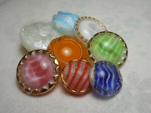 8 White Moonglow Glass Striped Blue Green Orange Vintage Antique Button 7/8-1/2