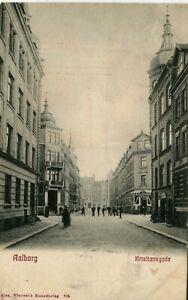 Denmark Aalborg Ålborg - Kristiansgade 1907 postcard