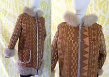 GENUINE SHEEPSKIN Sherpa tan printed Op Art leather fur vintage coat MEDIUM