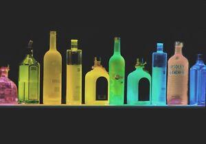 4' LIGHTED LIQUOR BOTTLE DISPLAY / GLASSWARE BEHIND BAR SHELF REMOTE COLOR LED