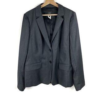 J. CREW Super 120s Charcoal Pinstripe Wool Blazer Size 16 Women's *READ*