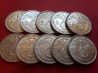 10-WW2 German 🇩🇪 2 Mark Silver Coin Third Reich With Large Swastika Reichsmark