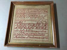 Antique 1876 Red Stitch Alphabet and Numeral Sampler, Adeline Lindemann