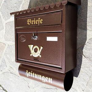 Großer Briefkasten Postkasten Kupfer +Zeitungsrolle Katalogeinwurf Nostalgie Neu