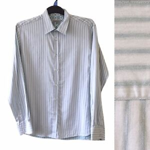 Ted Baker Mens Shirt XL / 5 Green Blue Stripe Long Sleeve Collar Formal Office