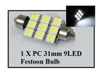 31mm 9 LED Festoon Light Bulb White Car Interior Roof Globe Glove Box