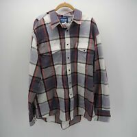 Wrangler Purple Gray Long Sleeve Button Front Cotton Plaid Western Shirt Mens XL