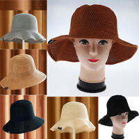 Women Steel Wire Beach Sun Hat Girl Knitting Summer Wide Brim DIY Bucket Hat