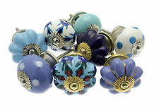 8 x Mix of  'Blues' Ceramic Shabby Chic Cupboard Knobs Drawer Knobs Kitchen Knob