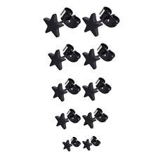 MENS WOMENS BLACK STAINLESS STEEL STAR STUD EARRING 3MM T0 7MM SINGLE / PAIR