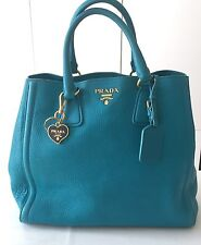 [100% AUTH] PRADA Pebbled Grain Soft Vitello Bag Purse Tote Blue