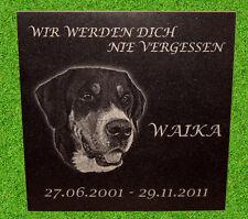 Tiergrabstein Tiergedenkstein Gravur Granit Wunschgravur mit Foto ca.30x30x1cm